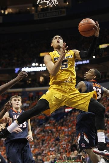 Missouri Tigers Jordan Clarkson makes a running layup in the second half against Illinois at the Scottrade Center in St. Louis on December 21, 2103. Illinois won the Annual Braggin' Rights game 65-64.   UPI/Bill Greenblatt By BILL GREENBLATT