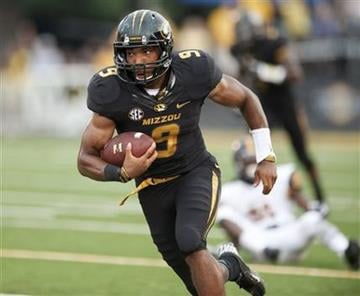 Missouri's Braylon Webb runs downfield after he intercepted a pass during the first quarter of an NCAA college football game against Murray State Saturday, Aug. 31, 2013, in Columbia, Mo. (AP Photo/L.G. Patterson) By L.G. Patterson