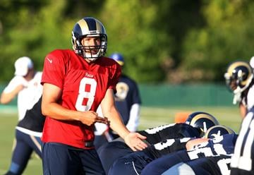 St. Louis Rams quarterback Sam Bradford gives his receivers a signal before the snap during training camp at the team practice facility in Earth City , Missouri on August 1, 2013.   UPI/Bill Greenblatt By BILL GREENBLATT