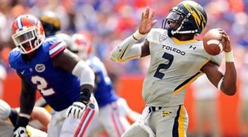 GAINESVILLE, FL - AUGUST 31: Terrence Owens #2 of the Toledo Rockets drops back to pass against the Florida Gators during a game at Ben Hill Griffin Stadium on August 31, 2013 in Gainesville, Florida. (Photo by Stacy Revere/Getty Images) By Stacy Revere