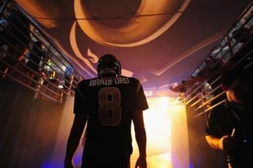 ST. LOUIS, MO - SEPTEMBER 8: Sam Bradford #8 of the St. Louis Rams is introduced before a game against the Arizona Cardinals at the Edward Jones Dome on September 8, 2013 in St. Louis, Missouri.  (Photo by Michael Thomas/Getty Images) By Michael Thomas