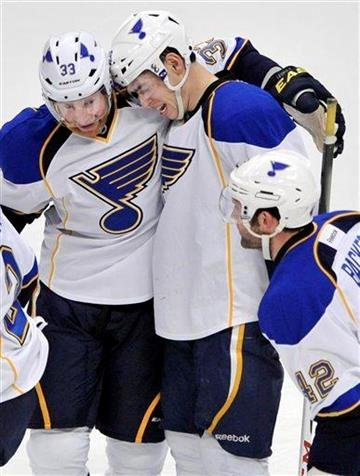 St. Louis Blues' Adam Cracknell, right, celebrates with teammate Jordan Leopold, left, after scoring against the Chicago Blackhawks during the first period of an NHL hockey game in Chicago, Thursday, April, 4, 2013. (AP Photo/Paul Beaty) By Paul Beaty