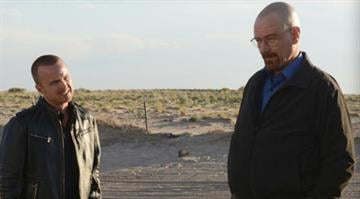 "Jesse Pinkman (Aaron Paul) and Walter White (Bryan Cranston) in a scene from ""Breaking Bad."""