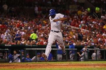 ST. LOUIS, MO - MAY 30: Lorenzo Cain #6 of the Kansas City Royals scores a run against the Kansas City Royals in the sixth inning at Busch Stadium on May 30, 2013 in St. Louis, Missouri.  (Photo by Dilip Vishwanat/Getty Images) By Dilip Vishwanat