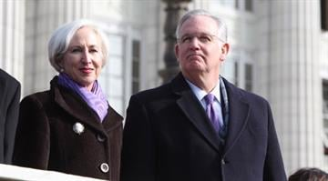 Missouri Governor Jay Nixon and First Lady Georganne Nixon stand after taking the oath of office for a second term as Missouri's Governor at the State Capitol in Jefferson City, Missouri on January 14, 2013.  UPI/Bill Greenblatt By BILL GREENBLATT