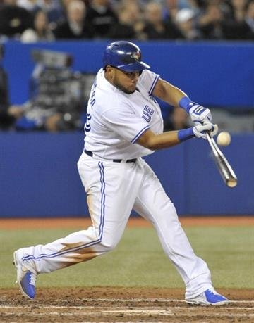 TORONTO, CANADA - APRIL 16:  Melky Cabrera #53 of the Toronto Blue Jays bats during MLB-game action against the Chicago White Sox April 16, 2013 at Rogers Centre in Toronto, Ontario, Canada. (Photo by Brad White/Getty Images) By Brad White