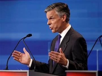 Republican presidential candidate former Utah Gov. Jon Huntsman speaks during the Iowa GOP/Fox News Debate at the CY Stephens Auditorium in Ames, Iowa, Thursday, Aug. 11, 2011. (AP Photo/Charlie Neibergall, Pool) By Charlie Neibergall