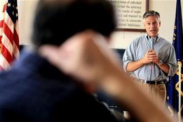 Republican 2012 presidential hopeful, former Utah Gov. Jon Huntsman, speaks at a breakfast at American Legion Post 3 in Nashua, N.H.,  Saturday,Aug. 13, 2011.  (AP Photo/Cheryl Senter) By Cheryl Senter