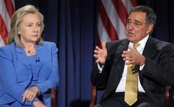 Defense Secretary Leon Panetta, accompanied by Secretary of State Hillary Rodham Clinton, speaks during an event at the National Defense University in Washington, Tuesday, Aug. 16, 2011. (AP Photo/Susan Walsh) By Susan Walsh