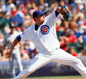 Chicago Cubs starting pitcher Matt Garza pitches to the St Louis Cardinals in the first inning of a baseball game on Saturday, Aug. 20, 2011 in Chicago. (AP Photo/Charles Cherney) By Charles Cherney
