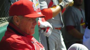 Cardinals pitching coach Dave Duncan watches warmups before Sunday's Cardinals/Nationals game. By Lakisha Jackson