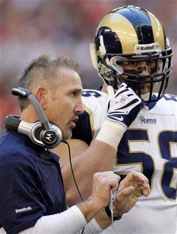 St. Louis Rams head coach Steve Spagnuolo, left, talks with Rams' David Vobora in the first quarter of an NFL football game against the Arizona Cardinals, Sunday, Dec. 27, 2009, in Glendale, Ariz. (AP Photo/Ross D. Franklin) By Ross Franklin