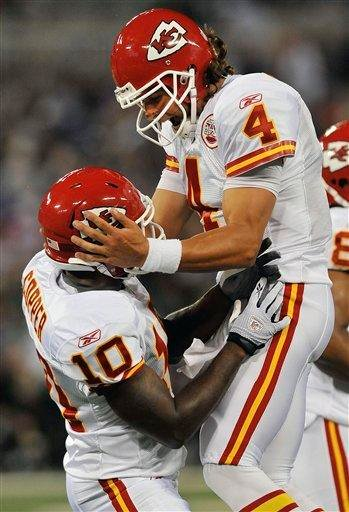 Kansas City Chiefs wide receiver Terrance Copper (10) celebrates his touchdown with quarterback Tyler Palko (4) during the first half of an NFL preseason football game in Baltimore, on Friday, Aug. 19, 2011. (AP Photo/Gail Burton) By Gail Burton