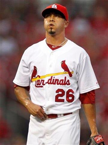 St. Louis Cardinals starting pitcher Kyle Lohse walks off the field after working during the first inning of a baseball game against the Los Angeles Dodgers on Tuesday, Aug. 23, 2011, in St. Louis. (AP Photo/Jeff Roberson) By Jeff Roberson