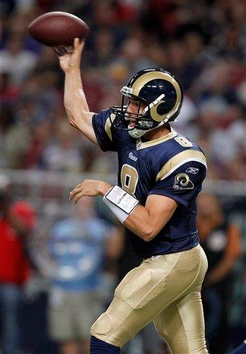 St. Louis Rams quarterback Sam Bradford throws during the first quarter of an NFL football game against the Tennessee Titans Saturday, Aug. 20, 2011, in St. Louis. (AP Photo/Jeff Roberson) By Jeff Roberson