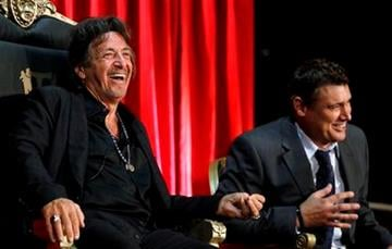 """Al Pacino, left, and Steven Bauer speak onstage during the """"Scarface"""" Legacy Celebration Event in Los Angeles, Tuesday, Aug. 23, 2011. """"Scarface"""" will be released on Blu-ray Sept. 6, 2011.  (AP Photo/Matt Sayles) By Matt Sayles"""