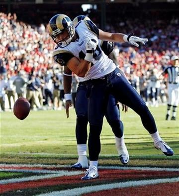 St. Louis Rams wide receiver Danny Amendola celebrates after a 5-yard touchdown reception during the second quarter of an NFL football game in San Francisco, Sunday, Nov. 14, 2010. (AP Photo/Paul Sakuma) By Paul Sakuma