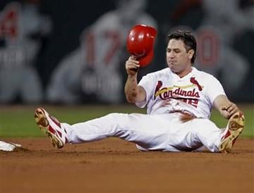 St. Louis Cardinals' Lance Berkman reacts to being caught stealing second in the third inning of a baseball game against the Colorado Rockies, Sunday, Aug. 14, 2011, in St. Louis.(AP Photo/Tom Gannam) By Tom Gannam