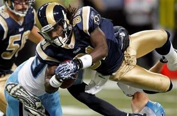 St. Louis Rams' Mardy Gilyard, right, is upended by Tennessee Titans linebacker Tim Shaw, left, while returning a kick during the first quarter of an NFL football game Saturday, Aug. 20, 2011, in St. Louis. (AP Photo/Jeff Roberson) By Jeff Roberson
