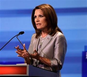Republican presidential candidate Rep. Michele Bachmann, R-Minn. speaks during the Iowa GOP/Fox News Debate at the CY Stephens Auditorium in Ames, Iowa, Thursday, Aug. 11, 2011. (AP Photo/Charlie Neibergall, Pool) By Charlie Neibergall