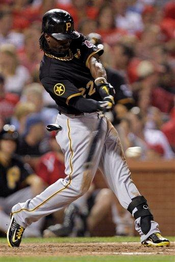 Pittsburgh Pirates' Andrew McCutchen (22) connects for a single in the seventh inning of a baseball game against the St. Louis Cardinals, Friday, Aug. 26, 2011, in St. Louis.(AP Photo/Tom Gannam) By Tom Gannam