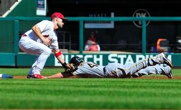 St. Louis Cardinals second baseman Skip Schumaker, left, tags out Pittsburgh Pirates' Alex Presley  who attempted to steal second during the first inning of a baseball game on Saturday, August 27, 2011, in St. Louis. (AP Photo/Jeff Curry) By Jeff Curry