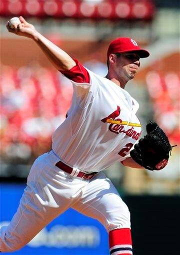 St. Louis Cardinals starting pitcher Chris Carpenter throws to a Pittsburgh Pirates batter during the first inning of a baseball game on Saturday, Aug. 27, 2011, in St. Louis. (AP Photo/Jeff Curry) By Jeff Curry