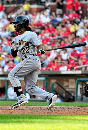 Pittsburgh Pirates' Andrew McCutchen follows through on one-run single during the sixth inning of a baseball game against the St. Louis Cardinals, Saturday, Aug. 27, 2011, in St. Louis. The Pirates won 7-0. (AP Photo/Jeff Curry) By Jeff Curry