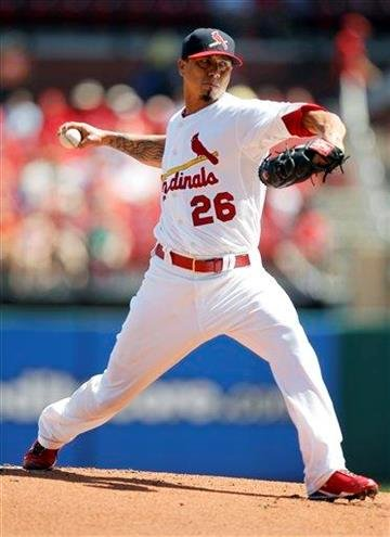 St. Louis Cardinals starting pitcher Kyle Lohse throws during the first inning of a baseball game against the Pittsburgh Pirates, Sunday, Aug. 28, 2011, in St. Louis. (AP Photo/Jeff Roberson) By Jeff Roberson