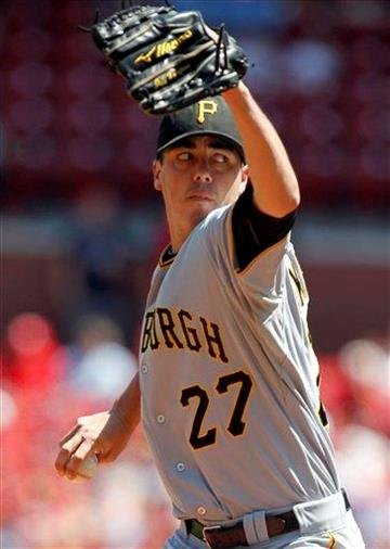 Pittsburgh Pirates starting pitcher Jeff Karstens throws during the first inning of a baseball game against the St. Louis Cardinals, Sunday, Aug. 28, 2011, in St. Louis. (AP Photo/Jeff Roberson) By Jeff Roberson