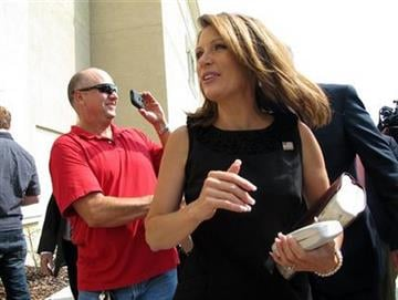 Republican presidential candidate, Rep. Michele Bachmann, R-Minn., arrives at Idlewild Baptist Church Sunday, Aug. 28, 2011, in Lutz, Fla. (AP Photo/Brendan Farrington) By Brendan Farrington
