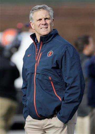 Illinois head coach Ron Zook looks around as team warms up before an NCAA college football game against Northwestern at Wrigley Field in Chicago on Saturday, Nov. 20, 2010. (AP Photo/Nam Y. Huh) By Nam Y. Huh