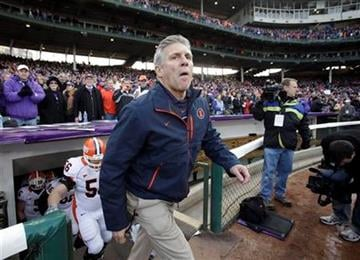 Illinois head coach Ron Zook walks to the field before an NCAA college football game against Northwestern at Wrigley Field in Chicago on Saturday, Nov. 20, 2010. (AP Photo/Nam Y. Huh) By Nam Y. Huh