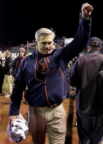 Illinois head coach Ron Zook celebrates after Illinois defeated Northwestern 48-27 in an NCAA college football game at Wrigley Field in Chicago on Saturday, Nov. 20, 2010. (AP Photo/Nam Y. Huh) By Nam Y. Huh
