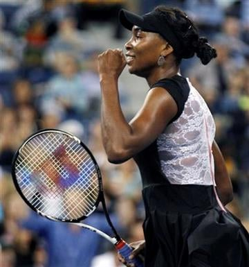 Venus Williams, of the United States, pumps her first after defeating Vesna Dolonts, of Russia, 6-4, 6-3 during the first round of the U.S. Open tennis tournament in New York, Monday, Aug. 29, 2011. (AP Photo/Charles Krupa) By Charles Krupa