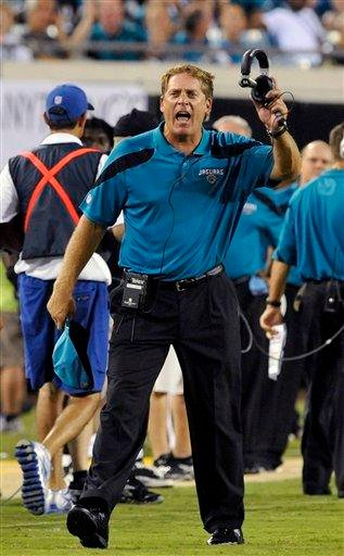 Jacksonville Jaguars coach Jack Del Rio argues with an official during the first half of an NFL preseason football game against the St. Louis Rams in Jacksonville, Fla., Thursday, Sept. 1, 2011. (AP Photo/Stephen Morton) By Stephen Morton
