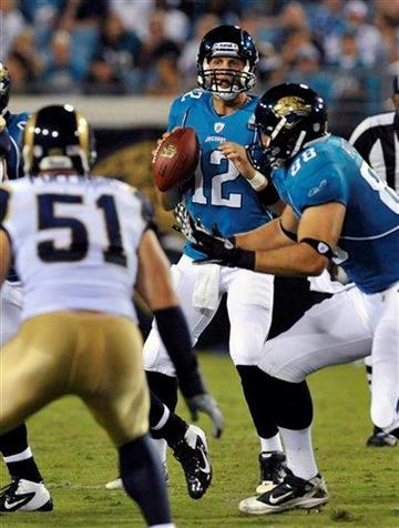 Jacksonville Jaguars quarterback Luke McCown (12) drops back to pass during the first half of an NFL preseason football game against the St. Louis Rams in Jacksonville, Fla., Thursday, Sept. 1, 2011. (AP Photo/Stephen Morton) By Stephen Morton