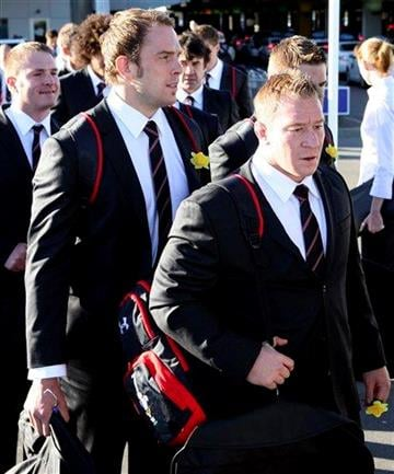 Welsh rugby team during their arrival in Wellington, New Zealand, Friday Sept. 2, 2011. Wales will kick off their Rugby World Cup 2011 campaign against South Africa on Sept. 11, 2011. (AP Photo/Themba Hadebe) By Themba Hadebe