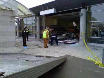 ATM thieves smashed a van into Earlean's cafe at the Emerson Park, Illinois Metrolink station Monday morning.  The thieves were not able to get the ATM machine. By KMOV Web Producer
