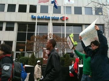 Protesters outside the Bank of America branch in downtown Clayton, Missouri. By Bryce Moore