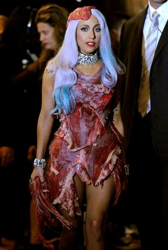 "Lady Gaga is seen backstage after accepting the award for Video of the Year for ""Bad Romance"" at the MTV Video Music Awards on Sunday, Sept. 12, 2010 in Los Angeles. (AP Photo/Chris Pizzello) By Chris Pizzello"