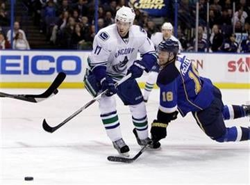 St. Louis Blues' Jay McClement (18) falls to the ice as he and Vancouver Canucks' Ryan Kesler (17) chase a loose puck during the first period of an NHL hockey game Monday, Dec. 20, 2010, in St. Louis. (AP Photo/Jeff Roberson) By Jeff Roberson