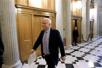 Sen. John McCain, R-Ariz., walks to the Senate floor, on Capitol Hill in Washington, Wednesday, Dec. 22, 2010, as they consider the New START Treaty. (AP Photo/Alex Brandon) By Alex Brandon