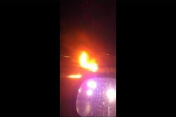 A driver who exited his burning car was struck by another car early Thursday morning on northbound Interstate 270, just north of Olive Blvd.