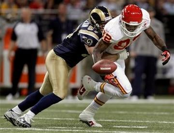 St. Louis Rams linebacker Chris Chamberlain, left, breaks up a pass intended for Kansas City Chiefs wide receiver Dwayne Bowe during the first quarter of an NFL football game Sunday, Dec. 19, 2010, in St. Louis. (AP Photo/Jeff Roberson) By Jeff Roberson