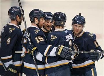 St. Louis Blues celebrate a goal by Erik Johnson (6) during the first period of an NHL hockey game against the Detroit Red Wings on Thursday, Dec. 23, 2010, in St. Louis. (AP Photo/Sarah Conard) By Sarah Conard