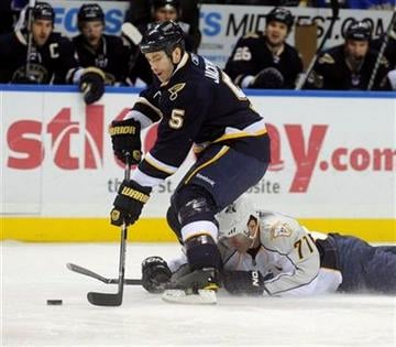 Nashville Predators' J-P Dumont (71) slides under St. Louis Blues' Barret Jackman (5) in the first period of an NHL hockey game Sunday Dec. 26, 2010 in St. Louis. (AP Photo/Bill Boyce) By Bill Boyce