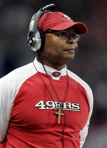 San Francisco 49ers head coach Mike Singletary looks on from the sidelines during the first quarter of an NFL football game against the St. Louis Rams, Sunday, Dec. 26, 2010, in St. Louis. (AP Photo/Jeff Roberson) By Jeff Roberson