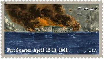 This handout image provided by the US Postal Service shows a postage stamp honoring Fort Sumter, a design which is included in the 2011 US postage stamps collection. (AP Photo/USPS) By KMOV Web Producer