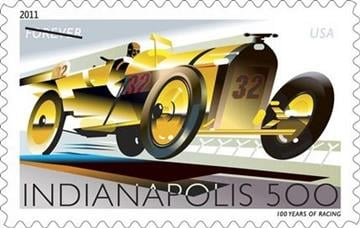 This handout image provided by the US Postal Service shows a postage stamp honoring The Indianapolis 500, a design which is included in the 2011 US postage stamps collection. (AP Photo/USPS) By KMOV Web Producer
